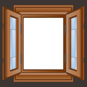 Open wooden window frame in the wall vector — Stock Vector