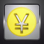 Золотой Юань или иен монету квадратную кнопку вектор — Cтоковый вектор