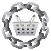 Shopping basket in strong steel circle chain vector — Stock Vector