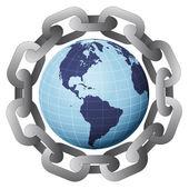 Ameryka ziemi glob w silne stali koło łańcucha wektor — Wektor stockowy