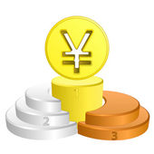Best podium place for yuan or yen vector — Stock Vector