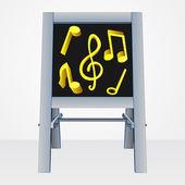 Music presentation on easel board vector — Stock Vector