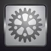 Ingranaggi in acciaio pulsante quadrato vettore — Vettoriale Stock