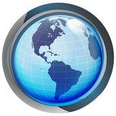Geïsoleerde blauwe cirkel knop met amerika op globe vector — Stockvector