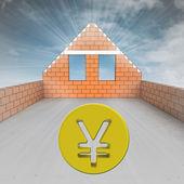 Dachgeschoss haus im bau mit yen-münze — Stockfoto