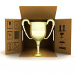 Golden champion cup delivery — Stock Photo