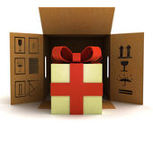 Holiday gift surprise safety delivery — Stock Photo