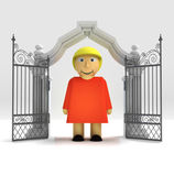 Perfect woman standing in heavenly gate — Stock Photo