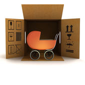 Baby carriage product delivery — Stock Photo