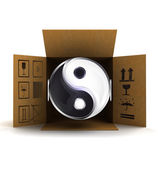 Yin and yang harmony in package delivery — Stockfoto