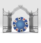 Lucky casino bet with heavenly gate — Stock Photo