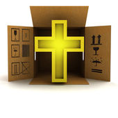 Golden religious cross product delivery — Stock Photo