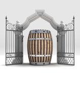 Divine beverage keg in heavenly gate — Stock Photo