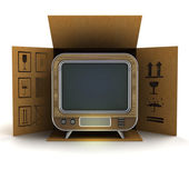 Retro television product delivery — ストック写真