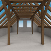 Attic wooden construction perspective veiw with sky — Stock Photo