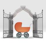 Divine babyborn gift in heavenly gate — Stock Photo