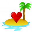 Lonely tropical island with summer love concept vector — Stock Vector #30284535