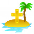 Lonely tropical island with religious cross concept vector — Stock Vector