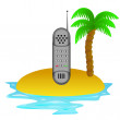 Stock Vector: Lonely tropical island with phone communication vector
