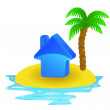 Lonely tropical island with summer house concept vector — Stock Vector