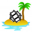 Lonely tropical island with movie tape vector — Vettoriali Stock