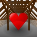 Attic under construction with heart icon vector — Stock Vector