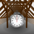 Attic under construction with stopwatch vector — Stok Vektör