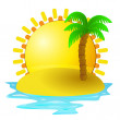 Lonely tropical island with sunrise vector — Stock Vector