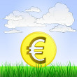 Grassy landscape with Euro coin and sky vector — Stock Vector