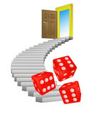 Spiral stairway with rolling dice concept vector — Stockvektor