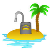 Lonely tropical island with open padlock concept vector — Stock Vector