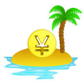 Lonely tropical island with yuan coin concept vector — Stock Vector
