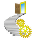 Stairway path leading to technological success vector — Stock Vector