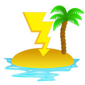 Lonely tropical island with thinder bolt concept vector — Stock Vector
