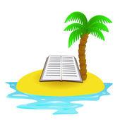 Solitaire île tropicale avec vecteur de concept pour le livre été — Vecteur