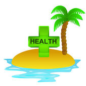 Lonely tropical island with holiday health concept vector — Stock Vector