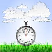 çimenli yatay, kronometre ve gökyüzü vektör — Stok Vektör