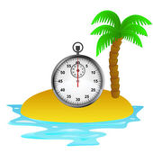 Lonely tropical island with stopwatch concept vector — Stock Vector