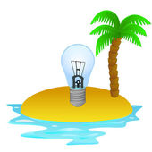 Lonely tropical island with summer idea concept vector — Stock Vector