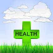Grassy landscape with summer health and sky vector — Vetorial Stock