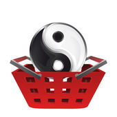 Red basket shopping with yin and yang icon vector — Stock Vector