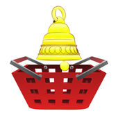 Red basket shopping with golden bell vector — Stock Vector