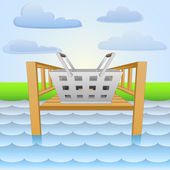 River pier with picnic basket relaxing vector — Stock Vector