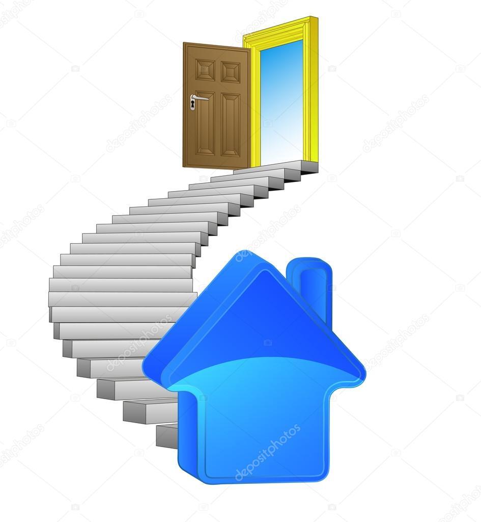 Scala a chiocciola con nuovo vettore concetto di casa for Aprire i piani casa artigiano concetto