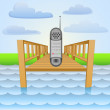 River pier with call communication with friends vector — Stock Vector