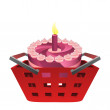 Red basket shopping with birthday cake vector — Stock Vector #30290081