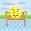 River pier with yuan or yen business ideas vector — Stock Vector