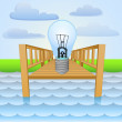River pier with invention ideas relaxing vector — Stock Vector