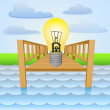 River pier with shiny yellow bulb signal vector — Stock Vector