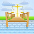 Stock Vector: River pier with weight of liberty vector